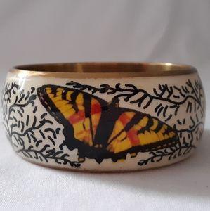 Vintage Enameled Brass Butterfly Bangle Bracelet C